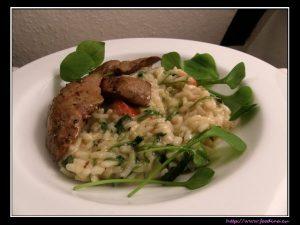 Kaninchenleber, Butter, Salbei, Postelein-Risotto