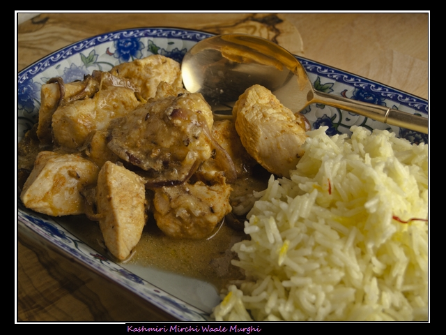 Kashmiri Mirchi Waale Murghi - Huhn in cremiger Sauce mit Chili und Fenchel