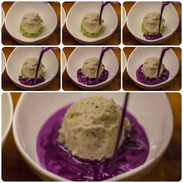 Rotkohlgazpacho mit Senfeis nach Heston Blumenthal