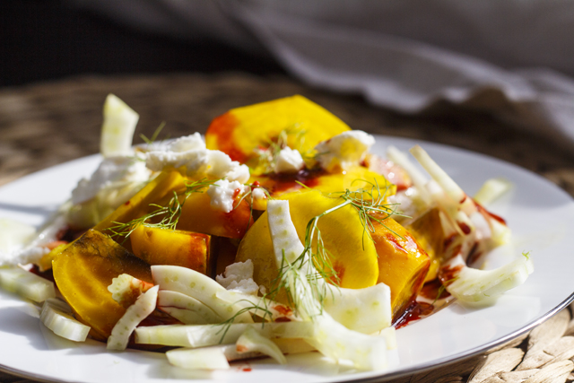 Ringelbeete-Salat mit Ziegenkäse und Fenchel