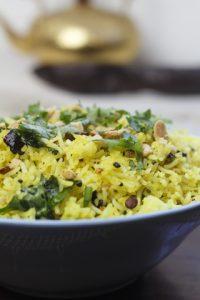 [indisch] Namkeen Nimbu Chawal – gelber Zitronenreis