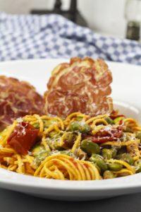 [Pasta] Spaghetti mit Dicken Bohnen und knuspriger Pancetta