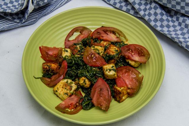 [indisch] Palak Paneer Tamatar - Käse in Spinatsauce mit Tomaten