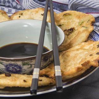 Cong you bing - Frühlingszwiebel-Pfannkuchen und ein Kochtreffen-Rückblick